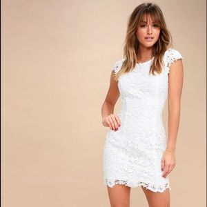Romance Language White Backless Lace Dress